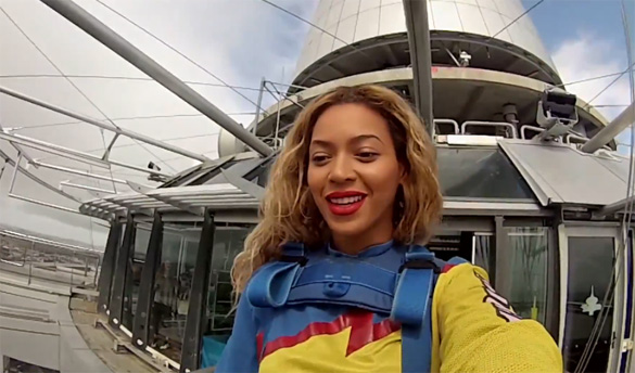 Watch Video: Beyonce Bungee Jumps From Sky Tower