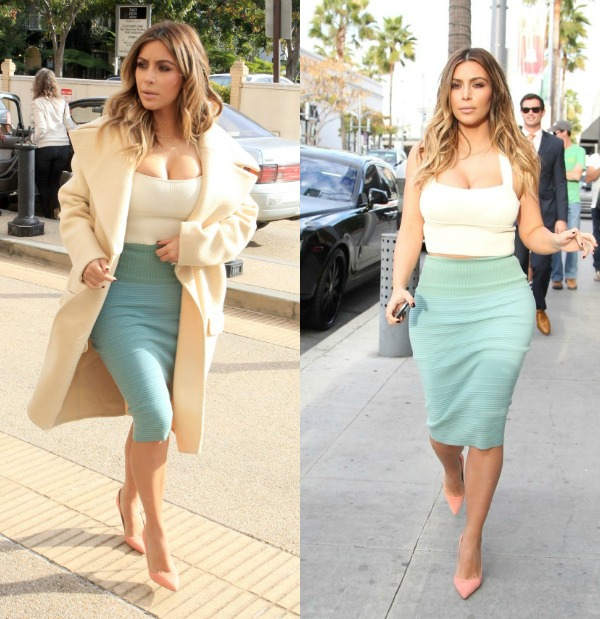 Kim Kardashian Shops At A Beverly Hills Barney's In Glove Fitting Ensemble
