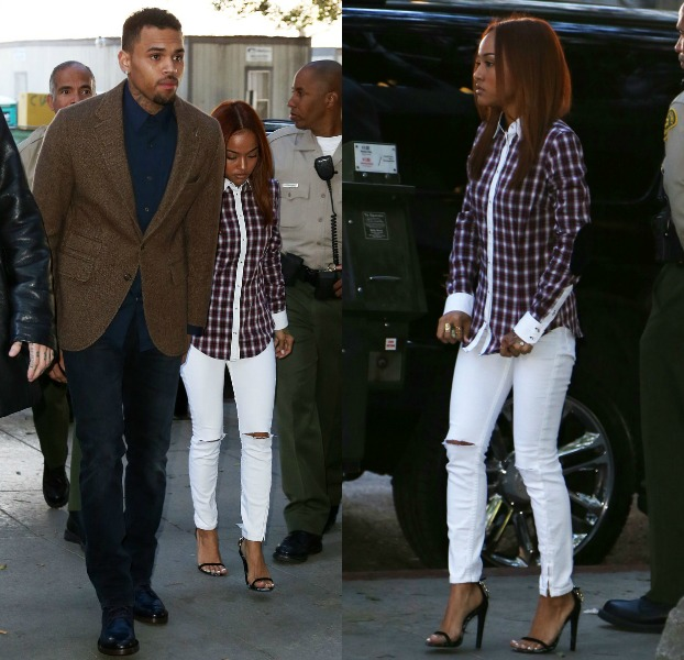 Karrueche Tran Escorts Her Man Chris Brown Into L.A. Courtroom