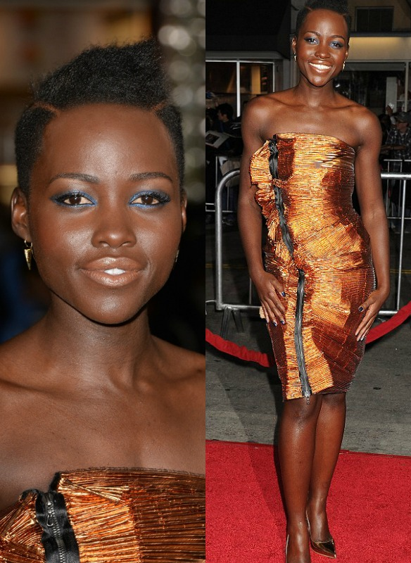 "Lupita Nyong'o Stuns In Metallic Dress At ""Non-Stop"" Movie Premiere"