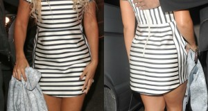 Steal Her Look: Beyonce Rocks Striped Top Shop Dress And Black Pumps
