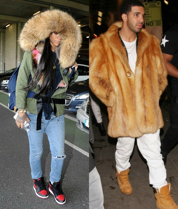 Rihanna And Drake Takes On London Weather In Fur Attire