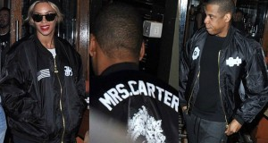 "His And Hers: Jay-Z Rocks ""Mrs. Carter"" Jacket And Beyonce Shows Love In ""Jay-Z"" Bomber"