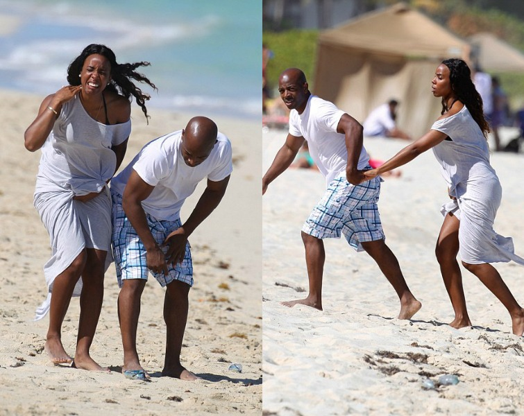 Kelly Rowland's Fiance Tim Witherspoon Saves Her From A Jellyfish On The Beach