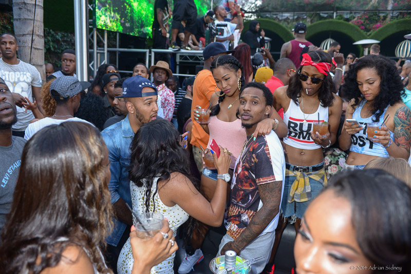 celebs attend jumping toxic day party rihanna trey songz the game