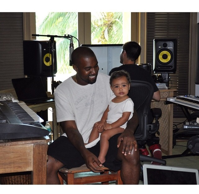 Awww! Kanye West Takes Baby North To The Studio For Bring Your Daughter To Work Day