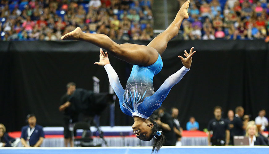 ST. LOUIS, MO - JUNE 26: Simone Biles competes in the floor exercise during day two of the 2016 P&G Gymnastics Championships at Chafitz Arena on June 26, 2016 in St. Louis, Missouri. (Photo by Dilip Vishwanat/Getty Images)