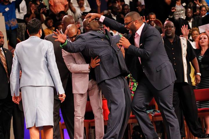 Watch: Tyler Perry Lays Hands On Bishop T.D. Jakes And Donates 1 Million Dollars To Youth Center
