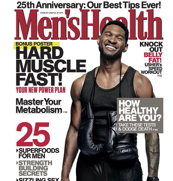 """Usher Flaunts His Abs For 25th Anniversary Issue Of """"Mens Health"""" Magazine"""