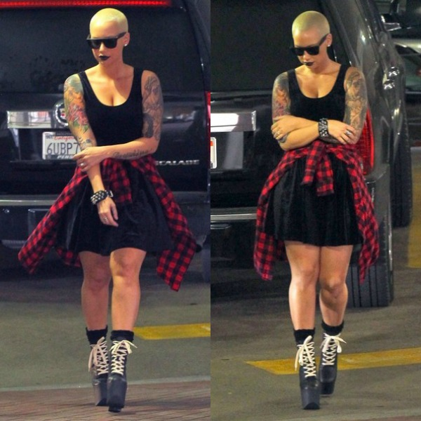 A Bald Headed Amber Rose Hits The Streets Of Beverly Hills In Goth Chic Attire
