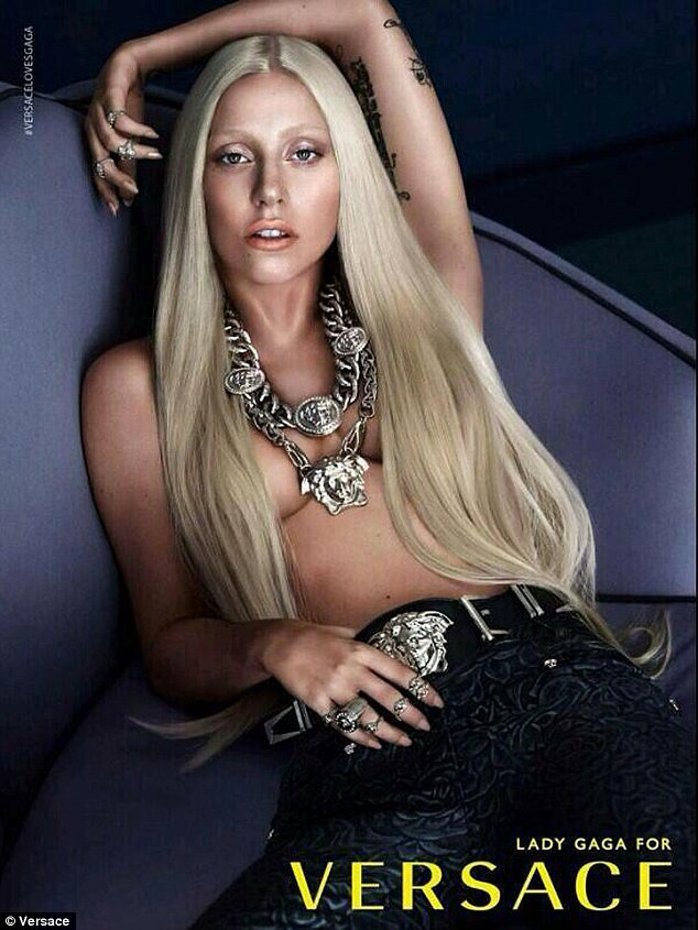 Lady Gaga Goes Topless For 2014 Versace Campaign
