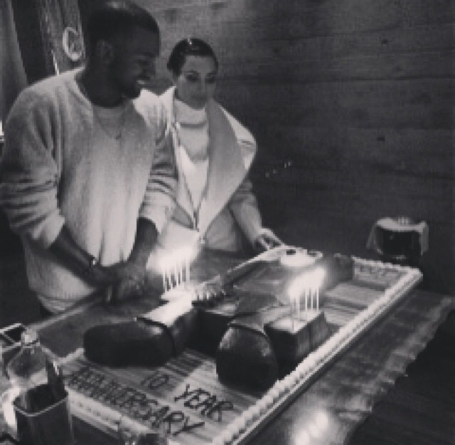 """Kanye West and Kim Kardashian Celebrates """"The College Dropout"""" 10 Year Anniversary Over Huge Custom Cake"""